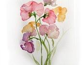 Spring Flowers. Watercolor original.Flowers painting. Art original. Pastel flowers