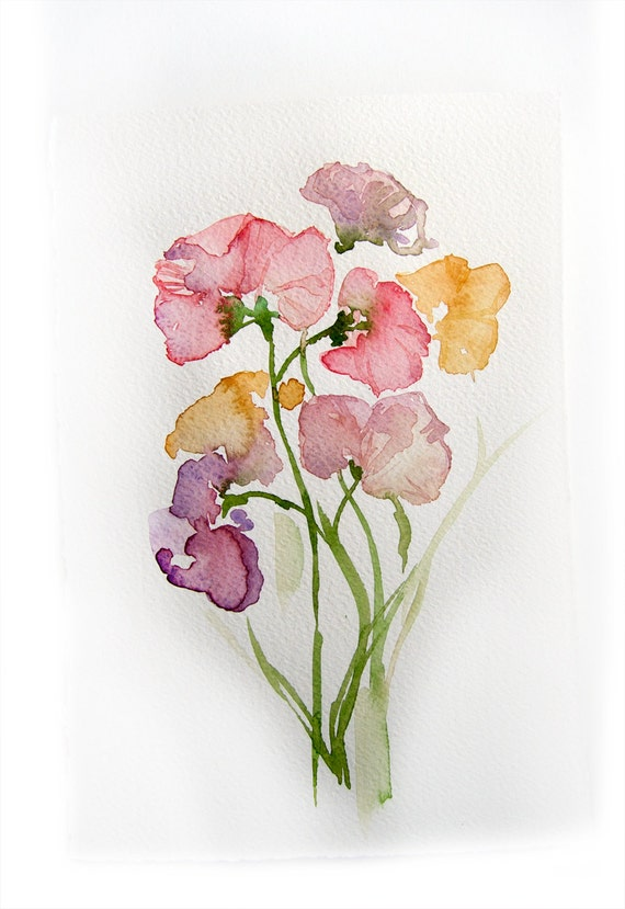 spring flowers watercolor original flowers painting art