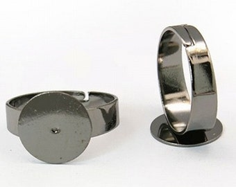 Gunmetal Black Adjustable Ring Blank Base 12mm