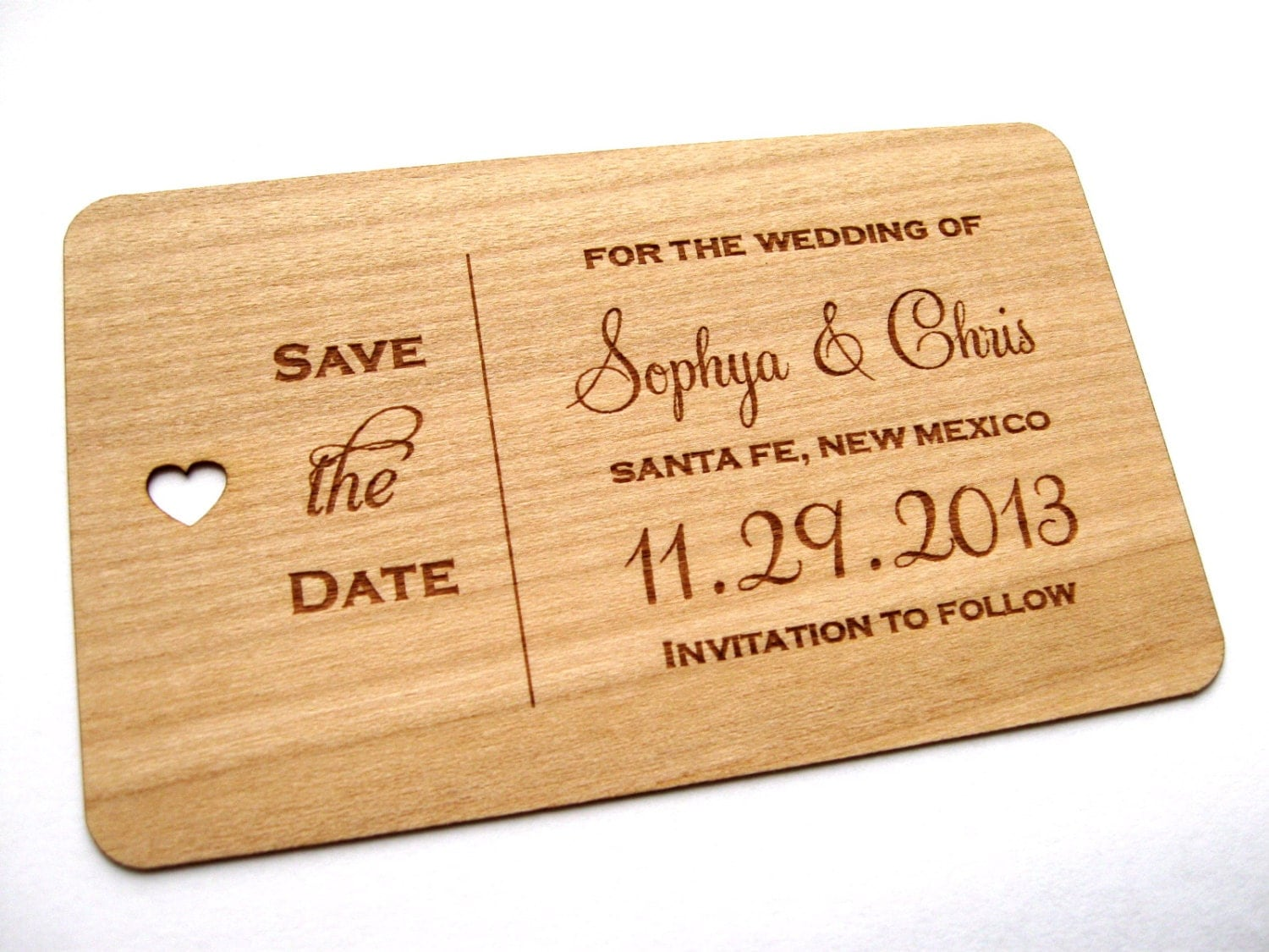 Rustic Save the Date wood card Wooden Save the Date card