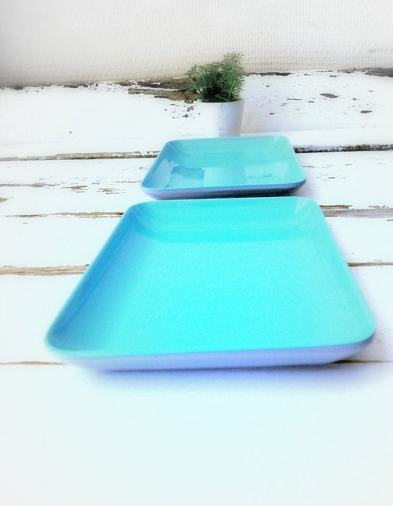 1950s 2 vintage light blue plastic plates -Mid Cenctury Kitchen Design- home decor -industrial gift for home and work space