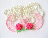 Pink Crocheted Spider Hoops Earings with Hot Pink Flowers Dangle Gossamer Lace Jewelry for Summer