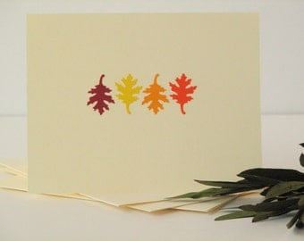 leaves stationery set, greeting cards, fall theme, set of 4