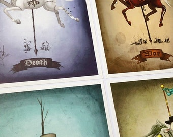 8x12 fine art print set - Entire Four Horsemen of the Apocalypse series - death, war, famine, pestilence - creepy carousel horse drawings