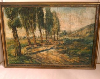 Antique art landscape oil paintings Southern Europe Mediterranean Summer 19th C. pastoral Cypress Cyprus lined carriage way dated signed