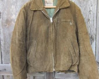 40s Utility Jacket by Sears Roebuck, Women M, Men S, Youth L // Lined Corduroy Coat // Winter Bomber Jacket