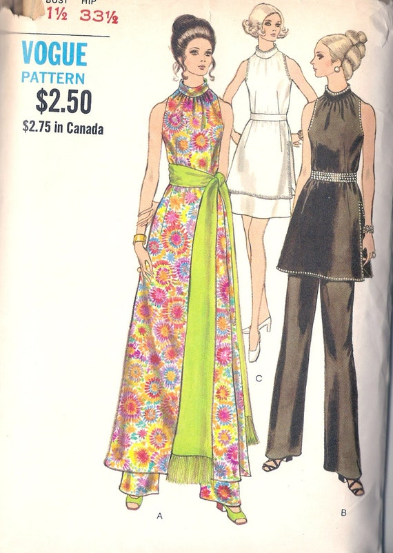 Vogue 7810 Retro 1970s Tunic, Sash, Skirt or Pants Sewing Pattern Sz 8