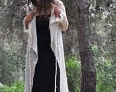 Wool sweater, fairy long gown, warm wrap jacket, women's cardigan, fantasy warrior top, pixie style