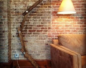Wooden Floor Lamp - Industrial Floor Lamp - Arc Floor Lamp - Adjustable Floor Lamp - Wooden Floor Lamps - Rustic Wood Lamps -Home Decor