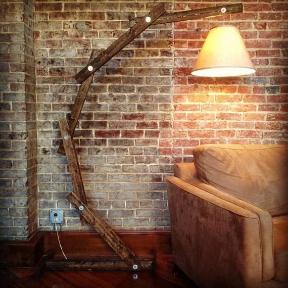 Rustic wood arc floor lamp 169 by awalkthroughthewoods on etsy