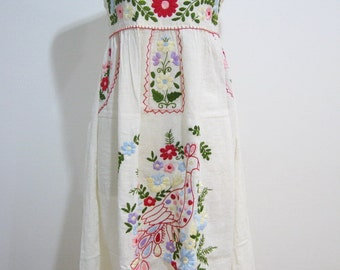 Mexican Embroidered Sundress Natural Cotton Strapless With Lining