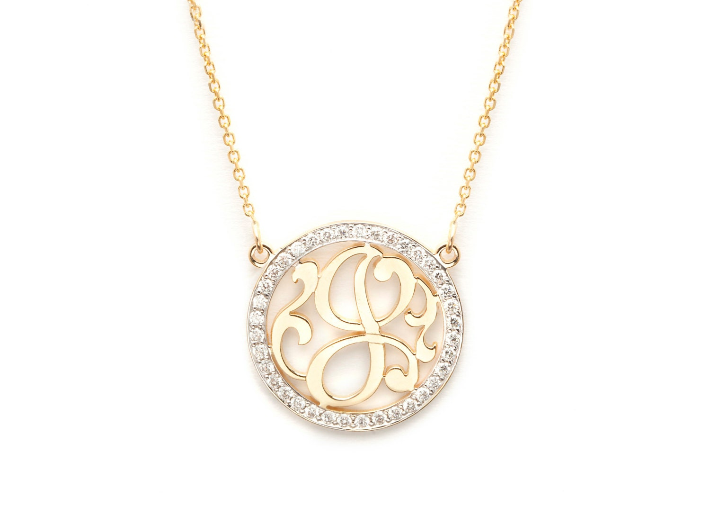 Mini Initial Monogram Necklace With Diamond Outline 14k
