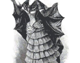 Vintage Woman in Bat Costume Ephemera PDF Cross-Stitch Pattern