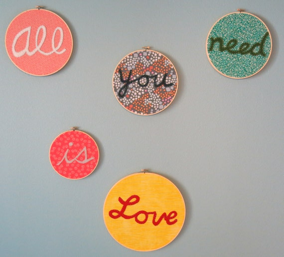Beatles Embroidery Hoop Art All you need is Love Handmade with Felt & Fabric yellow, red, pink, blue, white, green