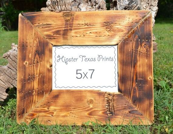 5x7 wood picture frame burned wood handmade rustic home. Black Bedroom Furniture Sets. Home Design Ideas