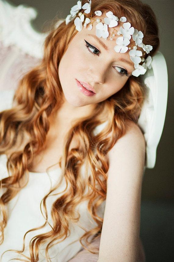 items similar to flower bridal halo floral halo blossom bridal halo wedding halo floral. Black Bedroom Furniture Sets. Home Design Ideas