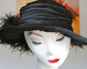 Vintage Early-1900s Inky Black Silk Velvet Hat with Ostrich Plume- 22""