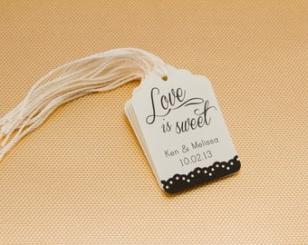 25- Lace Love is Sweet thank you tag, Wedding Thank you Tag, Customizable Tag, Cottage Rustic Chic Thank you Tag, Shower Tag, Favor Label