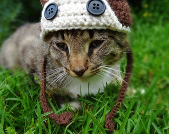 Cat Hat, Hats for Cats, Aviator Cat Hat, Pilot Cat Hat, Aviator Cat Costume, Pilot Cat Costume, Costumes for Cats, Cat Clothes, Cat Hats