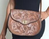 Vintage Brown Floral Leather Hand Carved Purse
