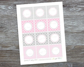 "INSTANT DOWNLOAD  Pink Gray Party Circles | editable printable PDF 2"" shower cupcake topper light pink gray