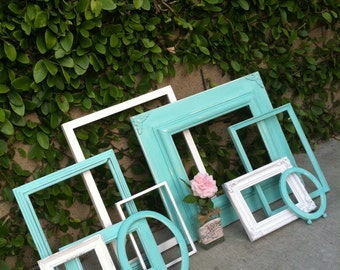 Turquoise frames, Set of 10,  Turquoise and White, Vintage Frames,Shabby Chic, Distressed Wood Open Gallery(Los Angeles)