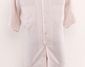 1960s Mens Summer Weight Short Sleeve Signature Fashion Leisure Shirt XL