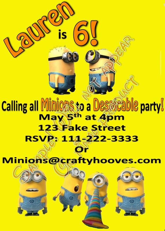 Party Invitations Minions Minions Birthday Party