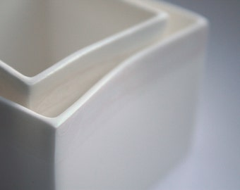 Pure white cube set of 2 made from English fine bone china with a hind of mother of pearl - geometric decor - iridescent