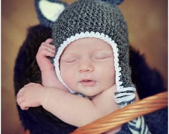 Crochet Wolf Beanie/ Hat Newborn Baby