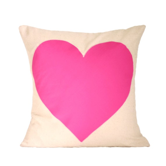 "Pink Heart Pillow Cover // 16""x16"" Pillow Cover with Pink Heart Applique"