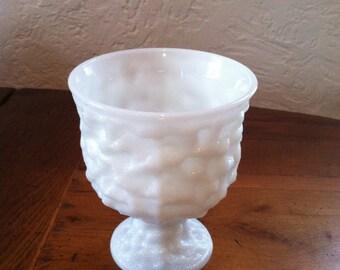 Vintage E.O. Brody Dimpled Milk Glass Pedestal Urn