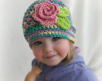 RTS Toddler Crochet Beanie with Rose Boutique Girls Cloche Rainbow Crochet Hat with Pink Rose READY to SHIP