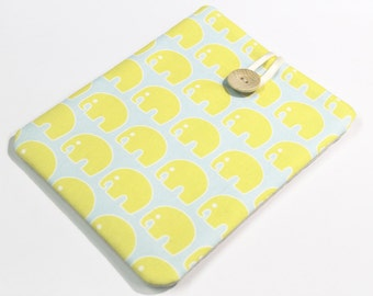 Elephants Kindle Paperwhite Cover, Kindle HDX 7 sleeve, Nexus 7 Case, 7 inch tablet case, yellow and blue elephants, Kindle Keyboard cover