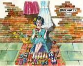 A3 Print Illustration  - Seller at Brick Lane Market - Shoreditch