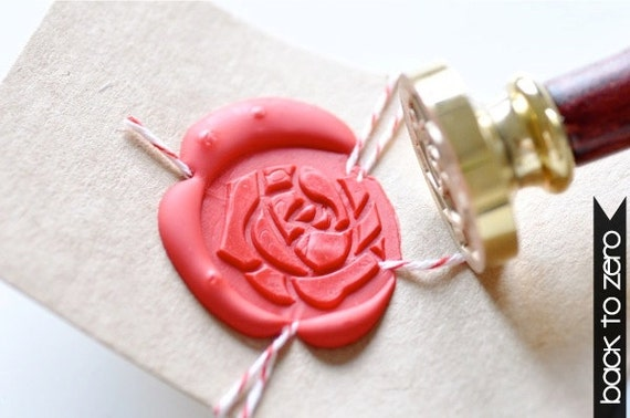 B20 Wax Seal Stamp Rose Flower