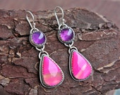 Hot Pink Amethyst Earrings Hot Fuchsia Agate Amethyst Dangle Earrings Sterling Silver Silversmithed Metalsmithed - ManariDesign