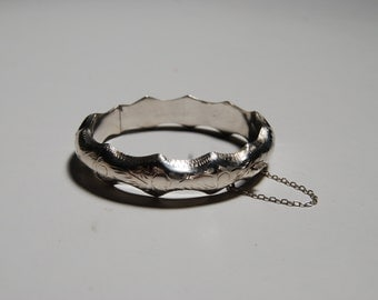 Etched Sterling Silver Bangle Bracelet