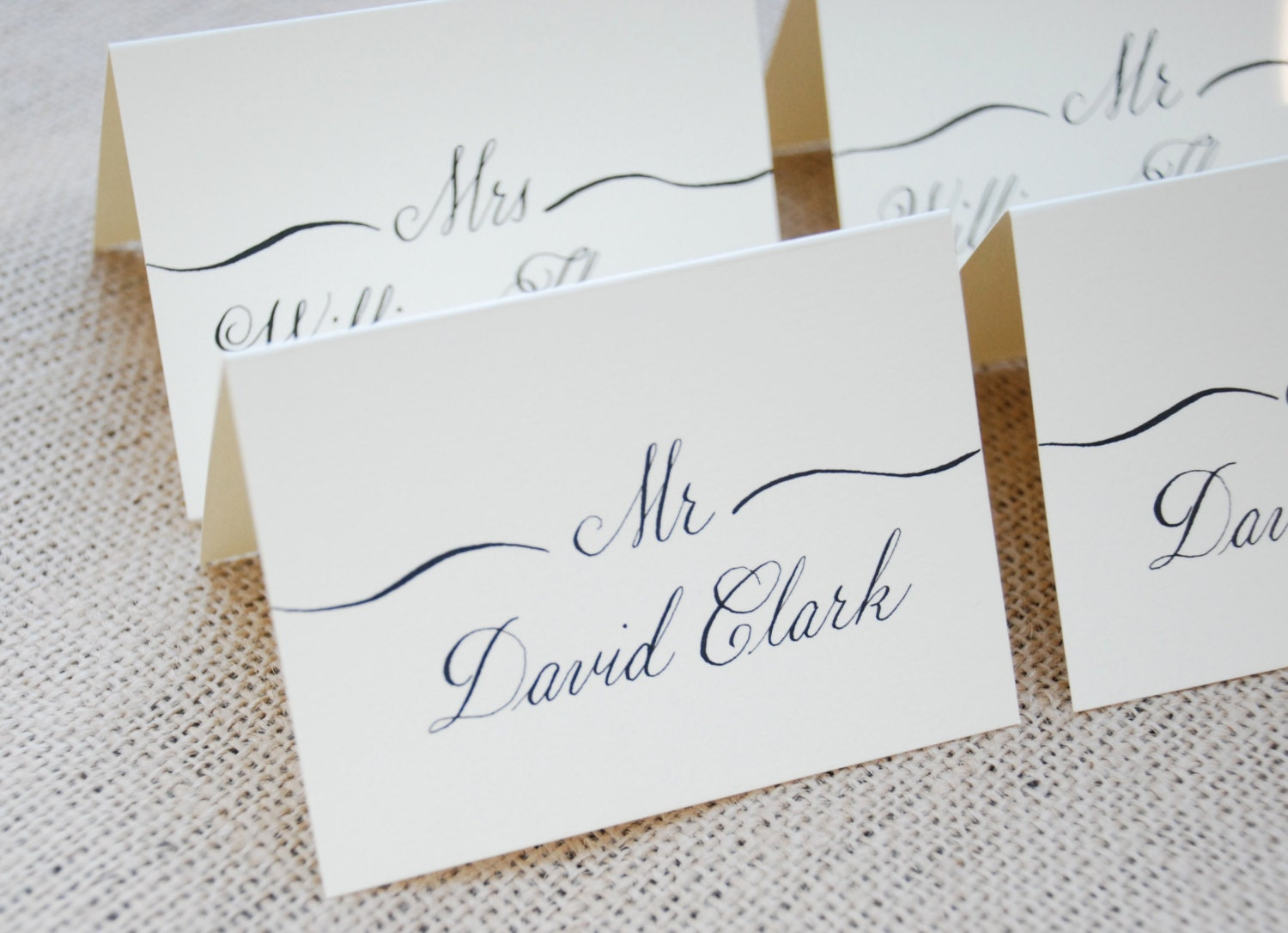 Hand calligraphy for wedding name place cards escort cards for Design table name cards