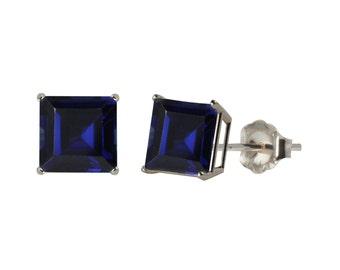 Blue Sapphire Princess Cut Stud Earrings .925 Sterling Silver Rhodium Finish