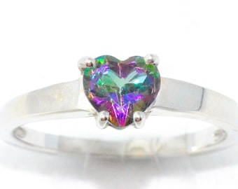 1 Carat Natural Mystic Topaz Heart Ring .925 Sterling Silver Rhodium Finish White Gold Quality