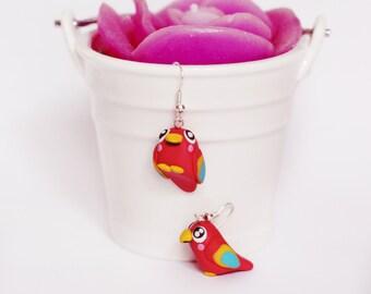 parrot earrings - polymer clay - handmade