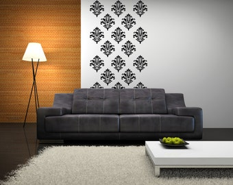 Vinyl Decals Set of 15 - Vinyl Wall Paper - Damask Wall Decal - Vinyl Damask 0008
