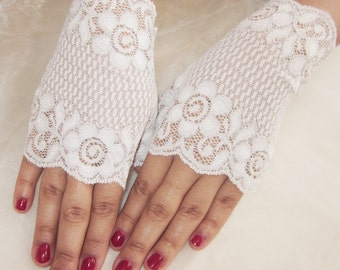 Bridal fingerless lace gloves, white and silver floral lace, bridal accessory