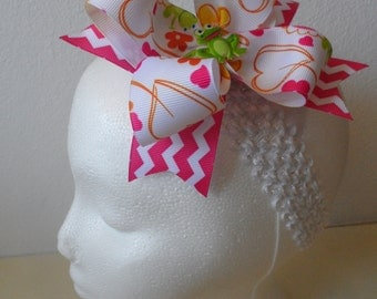 Frog Chevron Stacked Double Hair Bow