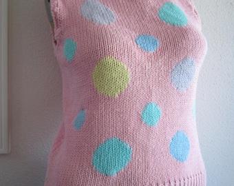Pink polka dot sleeveless sweater Hand Knit Cherry Stix
