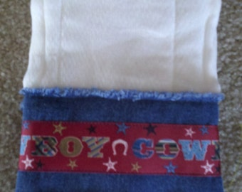 COWBOY BURP CLOTHS, set of two