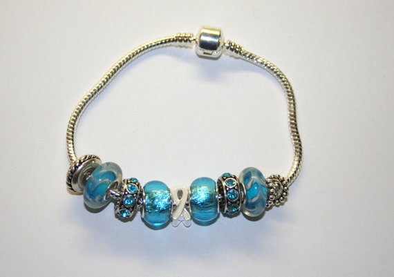 Graves Disease Light Blue Cancer Bracelet