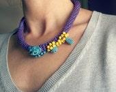 Crochet necklace - Organic jewelry - Fiber art boho jewelry in purple