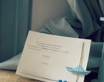 Baby boy Invitation - Small Invitations for baptism-party-baby shower , 10pcs